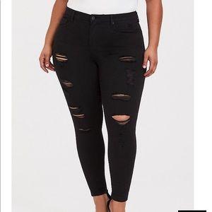 Torrid premium black ripped jeans NWOT